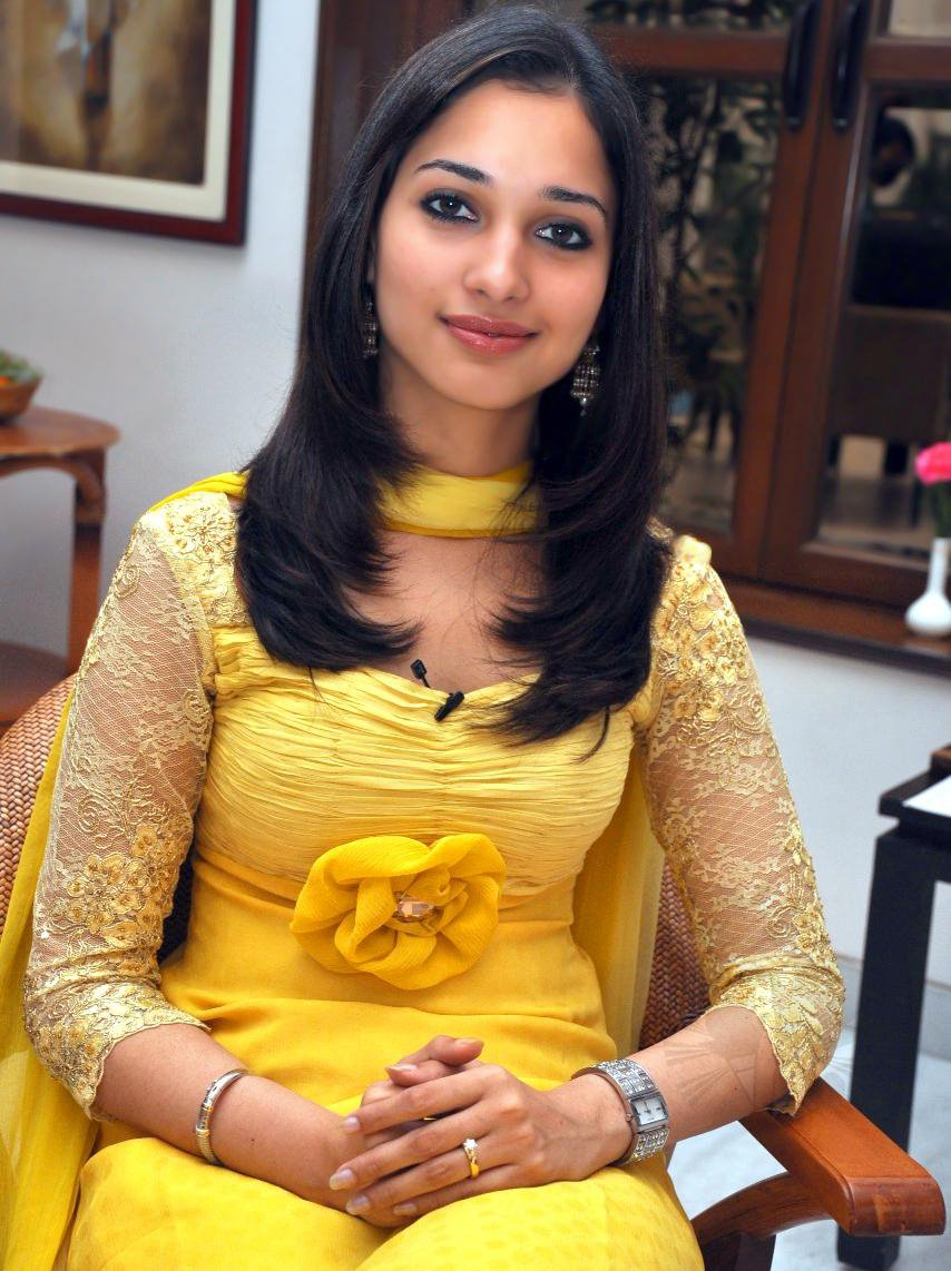 In Yellow Churidar Dress Cute Tamanna in Yellow Churidar Dress