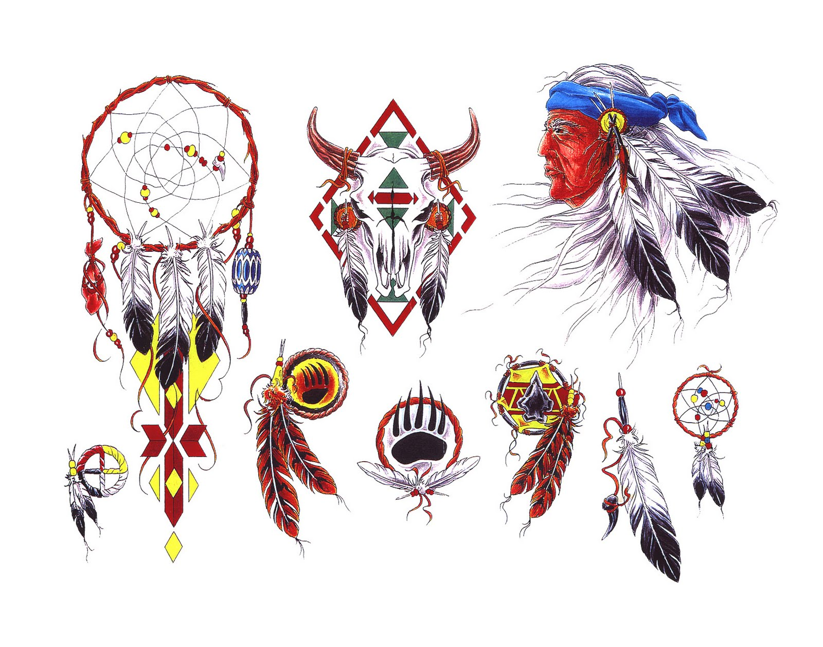 Значение тату индейских перьев