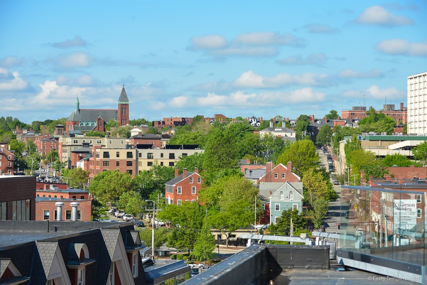 Looking towards the West End of Portland, Maine USA May 29 2015 from the Hyatt Place Hotel Old Port photo by Corey Templeton