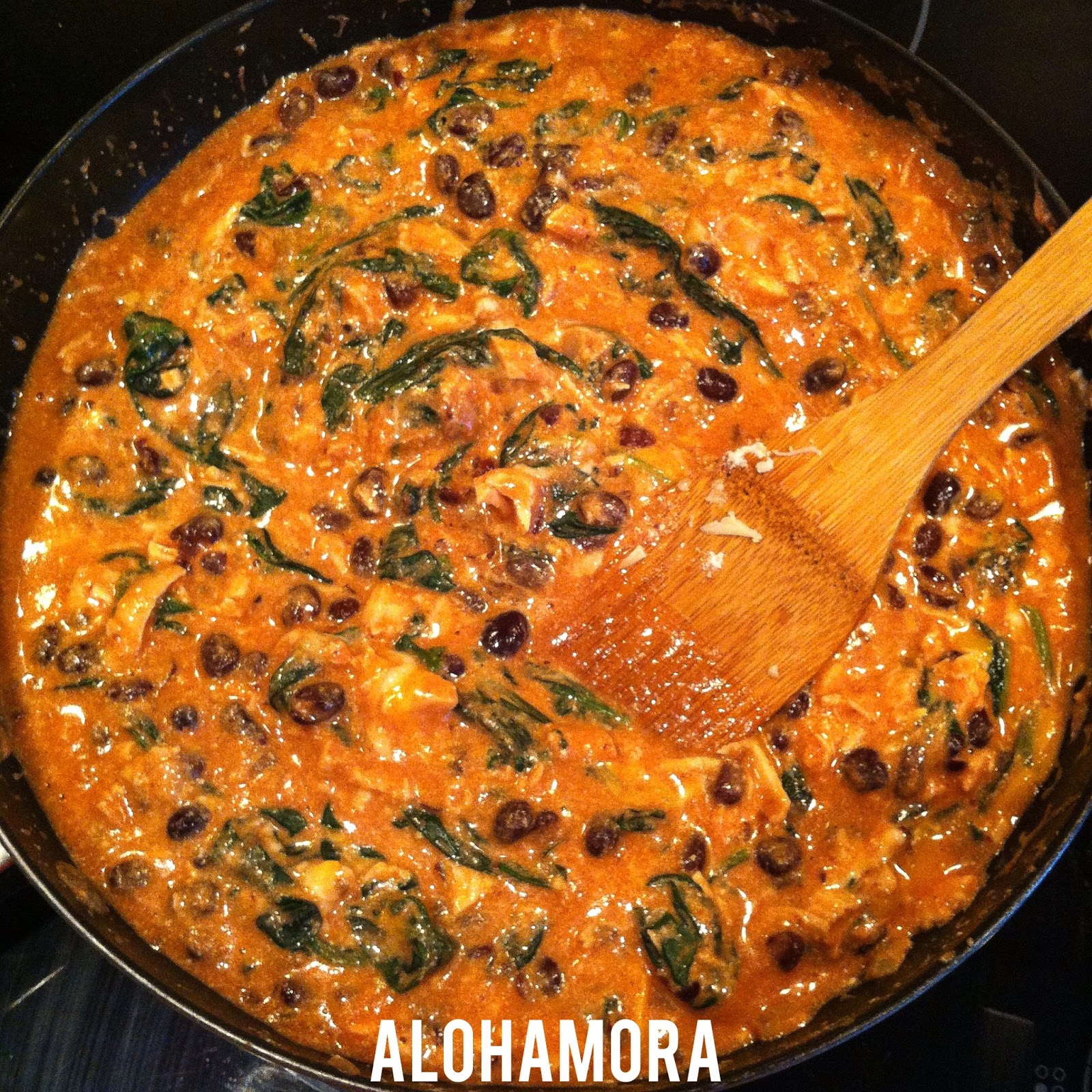 Creamy Red Enchilada Casserole with Chicken, Spinach, and Black Beans is healthy, delicious, flavorful, gluten free, and incredibly fast and easy to make. Alohamora Open a Book http://www.alohamoraopenabook.blogspot.com/