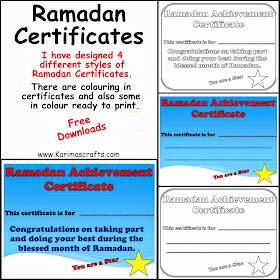 ramadan certificates free download crafts muslim islam