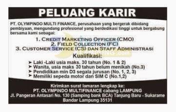 Lowongan Kerja PT Olympindo Multi Finance Lampung