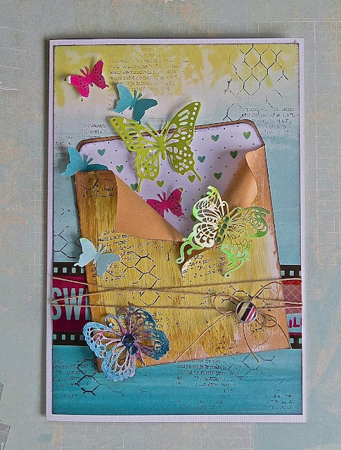 Envelope Card by Megan Gourlay for BoBunny using Kraft Bags and Forever Young