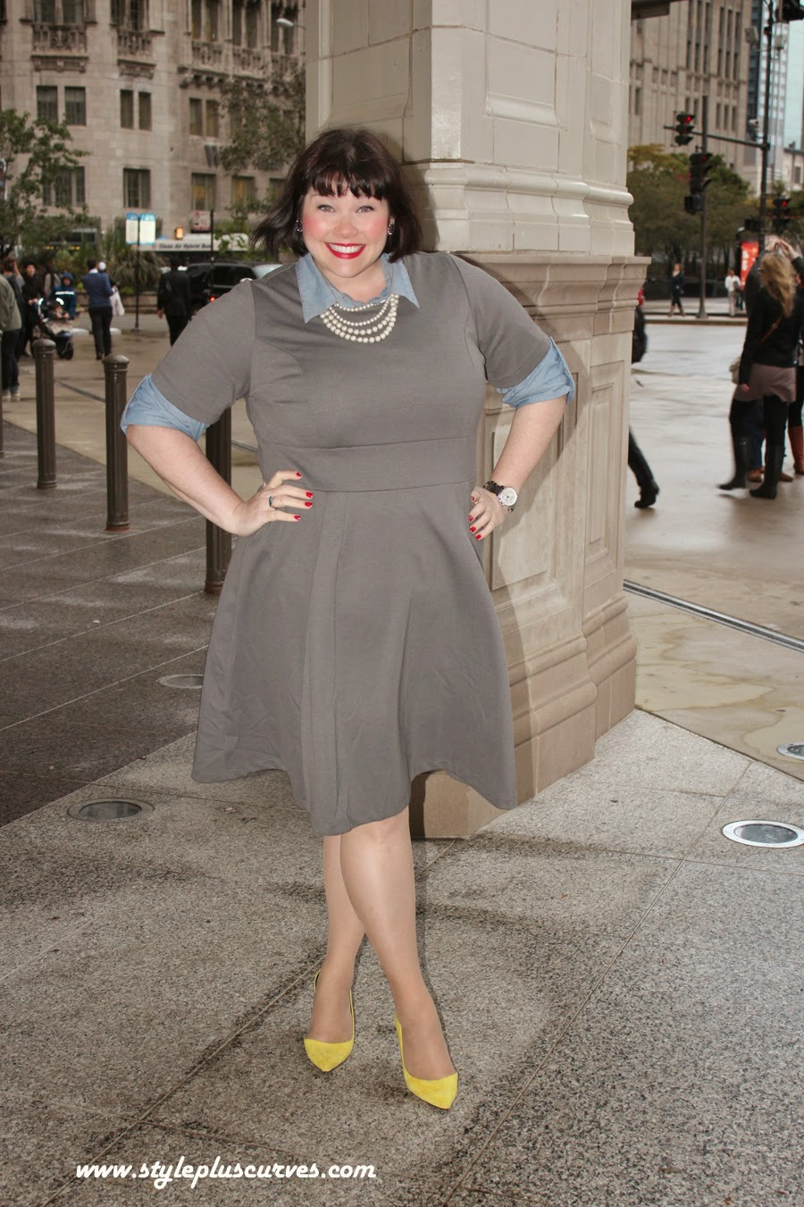 Amber from Style Plus Curves in Jessica London Gray Knit Dress