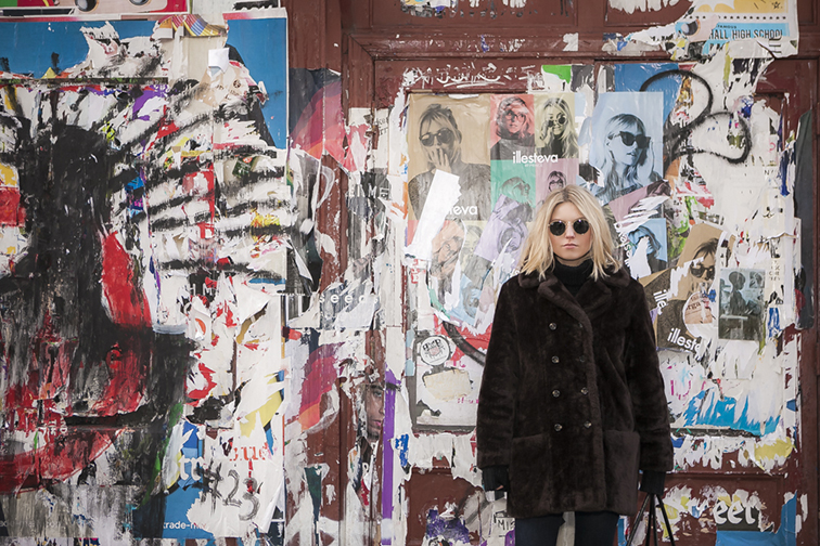 Soho graffiti wall, NYC, Fashion Over Reason Ray-Ban Lennon sunglasses, vintage faux fur coat