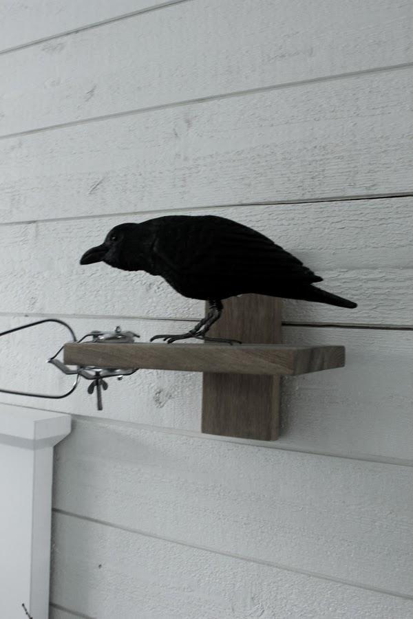 hylla med klämspot, lampa ikea, svart korp, träfigur fågel, fåglar, inreda med fåglar, inredningsdetaljer,