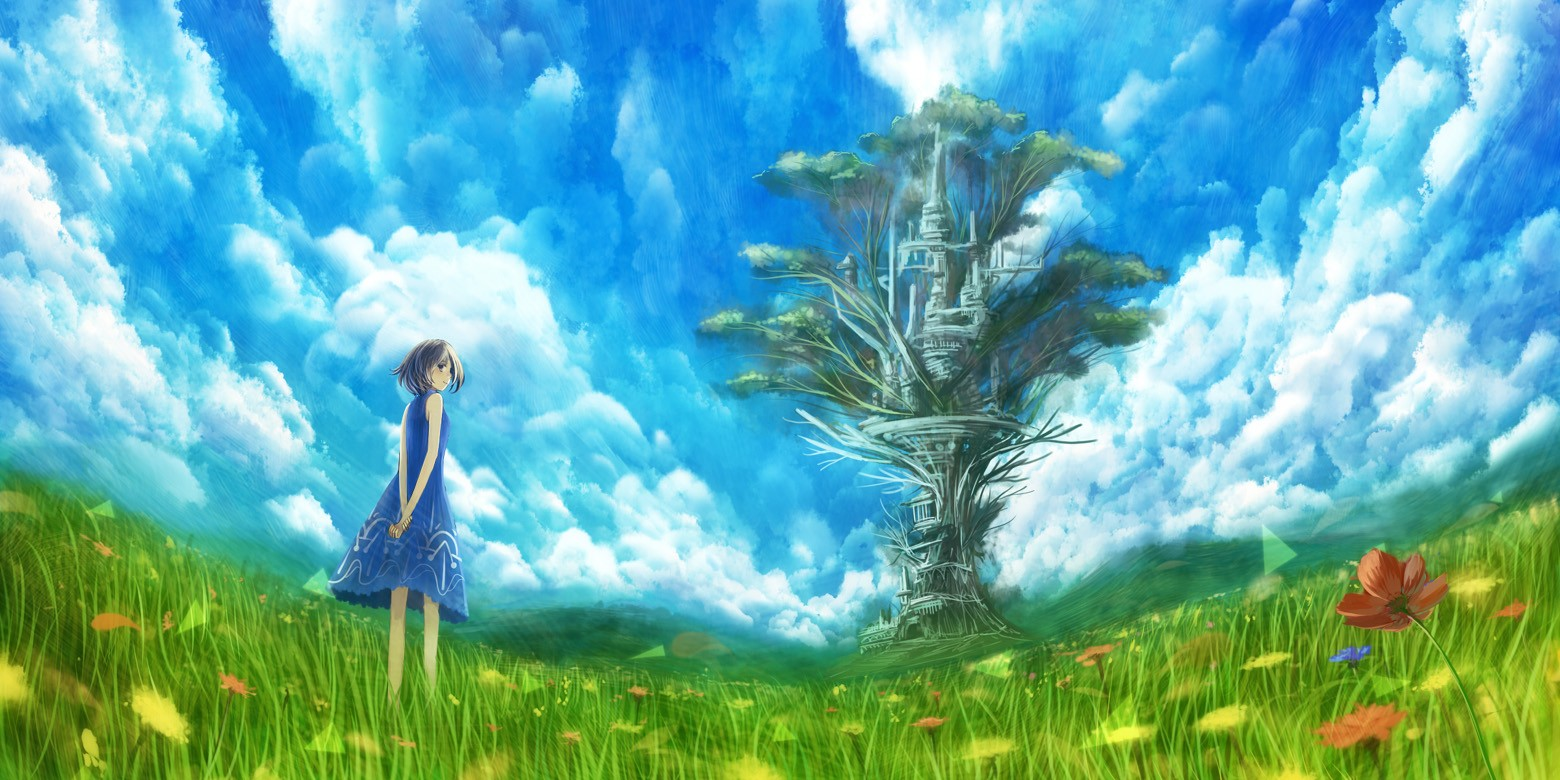 gallery for anime background scenery clouds