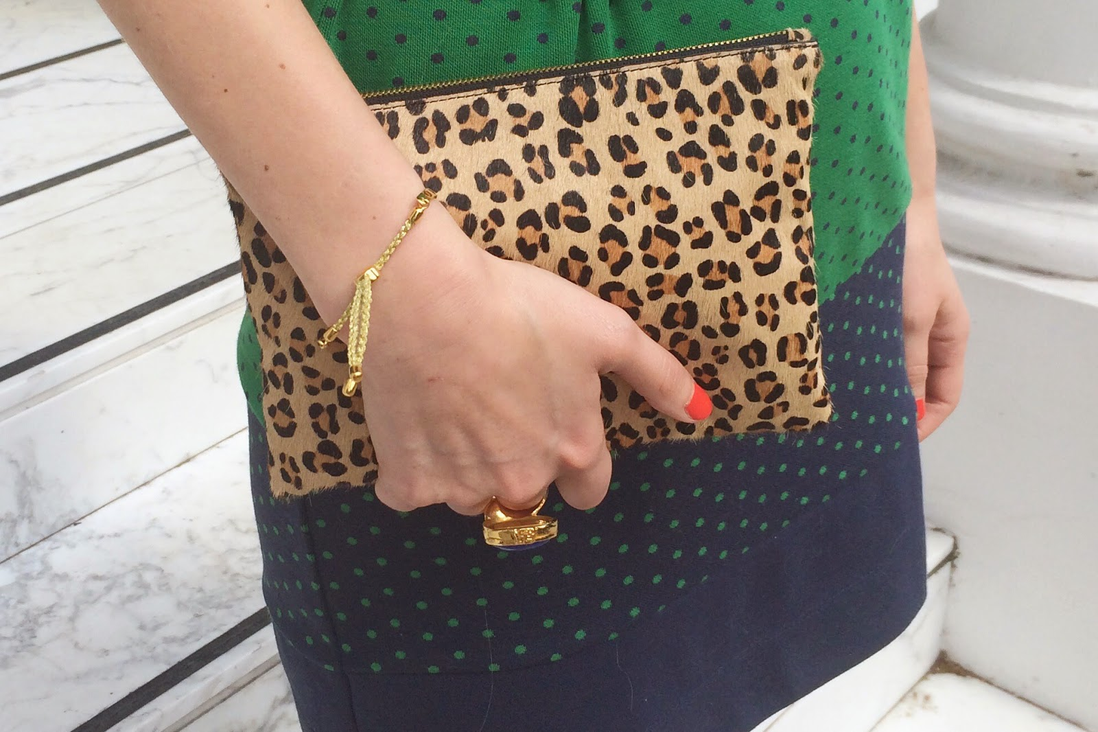 monica vinader, monica vinader fiji bracelet, j crew pouch, j crew leopard print clutch, house of fraser dress, green dress, t-shirt dress, blue and green dress
