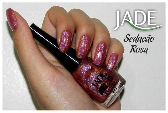 esmalte holográfico jade cosméticos, sedução rosa, swatch