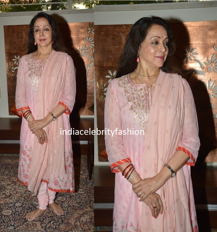 Hema malini in peach salwar kameez on her 67th Birthday