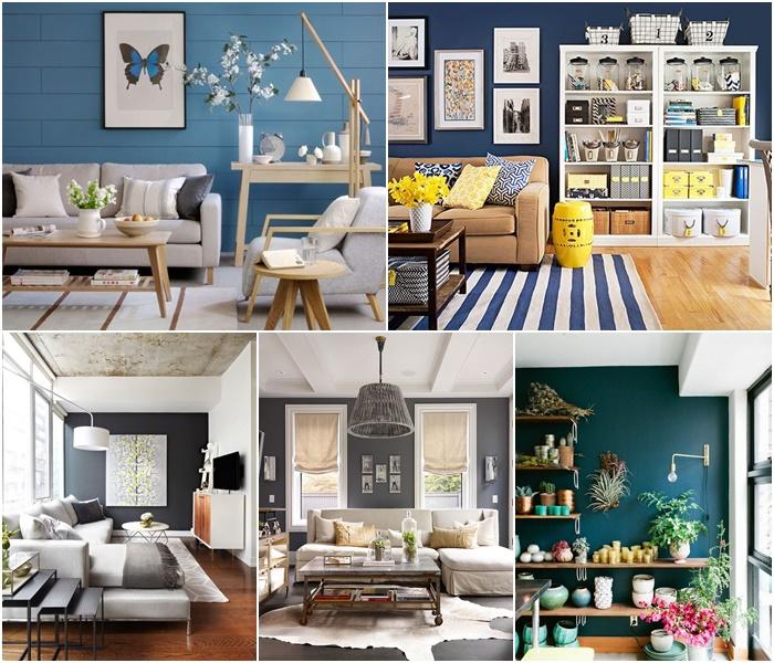 szara ściana w salonie, niebieska ściana w salonie