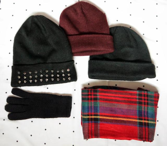 stud beanie h&m tartan scarf primark