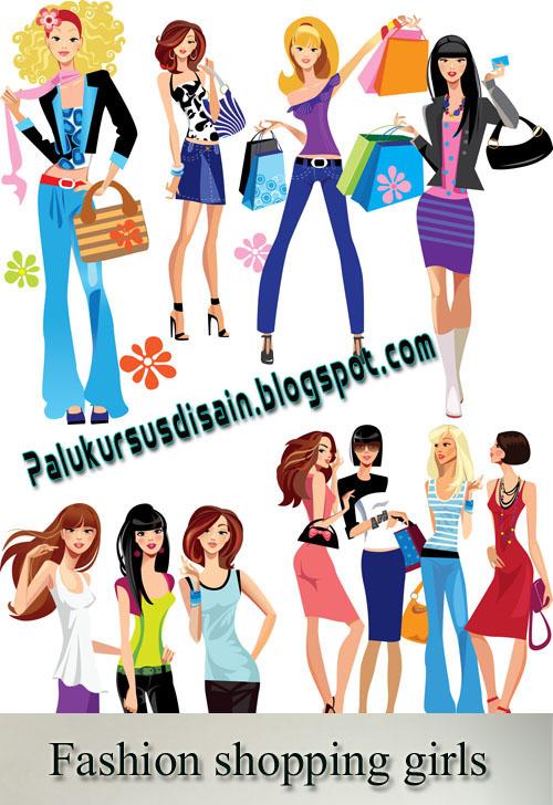 Vector Fashion shopping girls - Laku.com belanja online