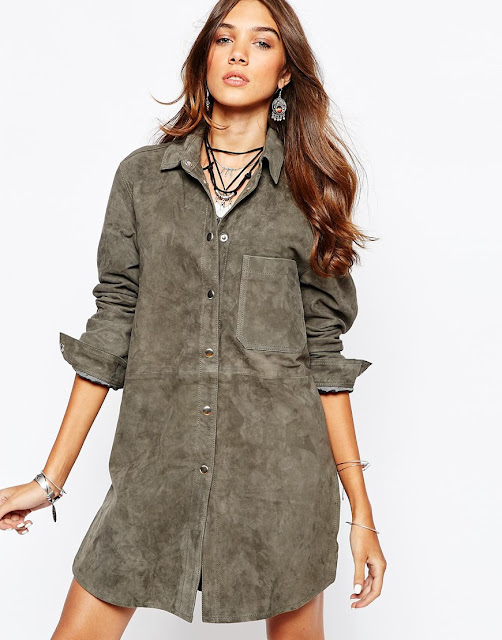 suede shirt dress, laden showroom dress,