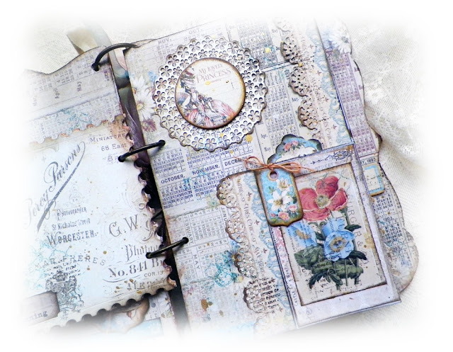 Scraps of Elegance scrapbook kits: Lisa Novogrodski created this shabby chic mixed media mini album using the Rebecca Baer stencils and fabulous techniques with our Lisa's Sweet September Kit. Find our kits here: www.scrapsofdarkness.com