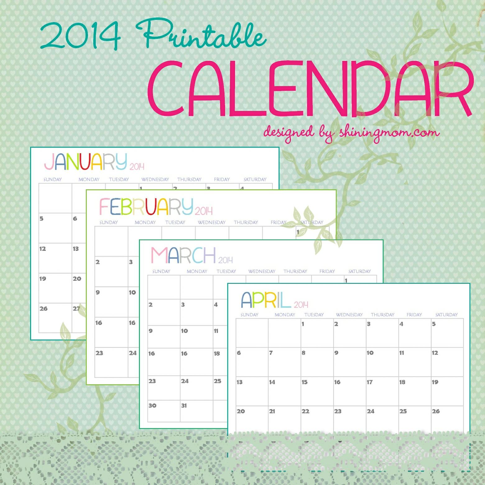 printable calendar: The Free Printable 2014 Calendar By Shining Mom.com Is Here