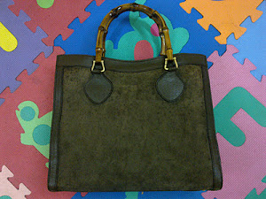 Gucci Suede Bamboo Tote Bag(SOLD)