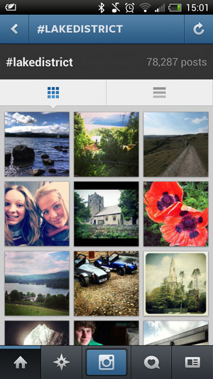 An example of an Instagram search based on a hashtag - in this case for the Lake District