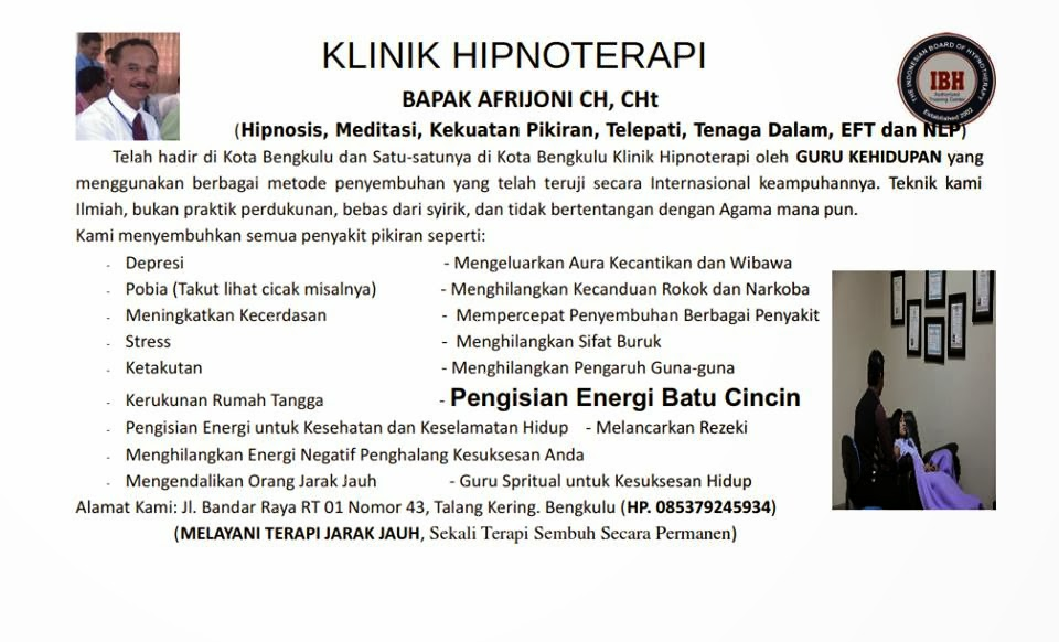 KLINIK HIPNOTERAPI BENGKULU
