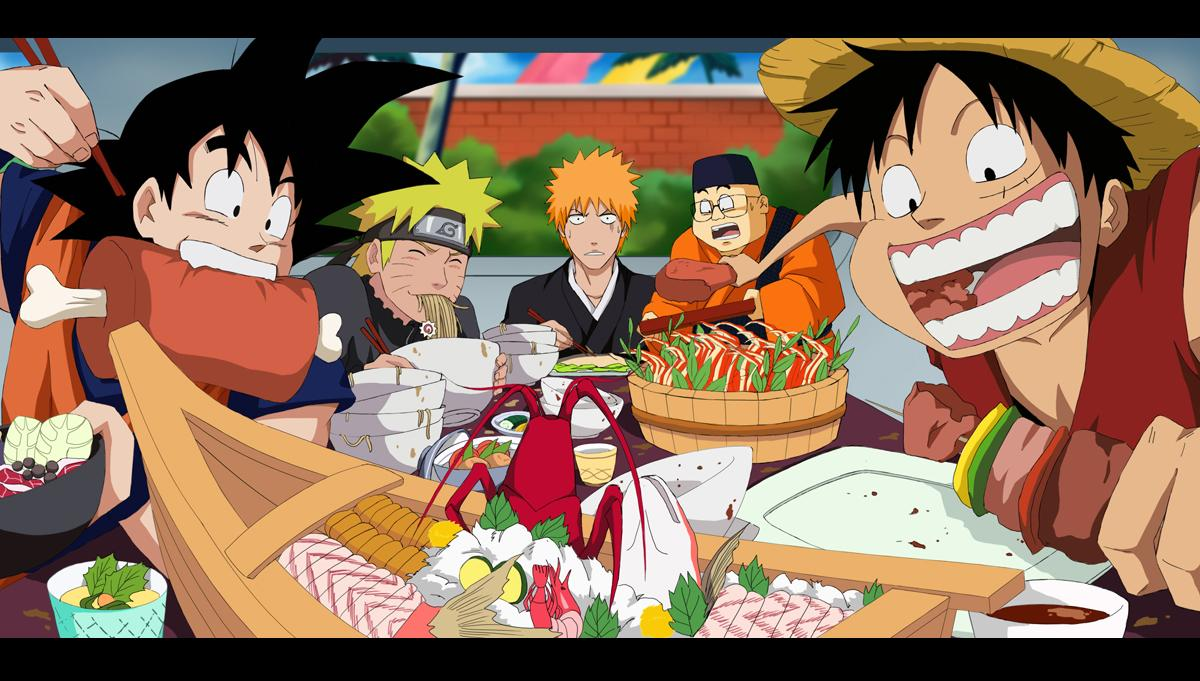 Top 5 Anime Characters Who Eat A Lot : Rafael neko tumblr goku ruffy naruto and ichigo in eating