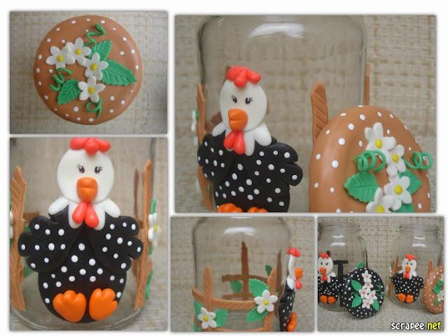 Vidro decorado, galinha d´angola - conjuntinho, beje e preto