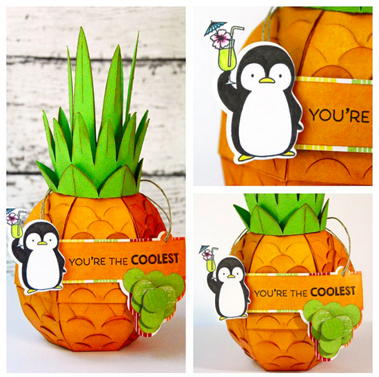 You're the Coolest Pineapple Decor by Marcia Dehn-Nix featuring the Birdie Brown Penguins in Paradise stamp set and Die-namics #mftstamps