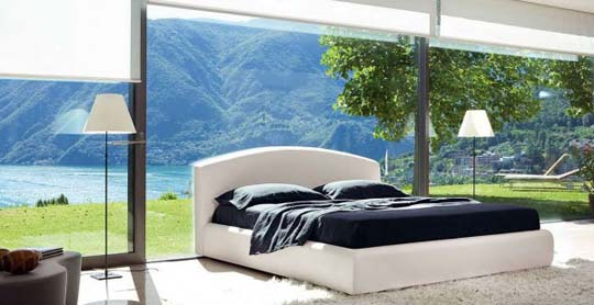 Beautiful bedroom interior design with large glass window view jpg