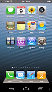 Screenshots of the Fake iPhone 5 Go Launcher EX theme for Android mobile, tablet, and Smartphone.