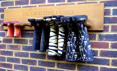 wooden wall boot / Welly rack