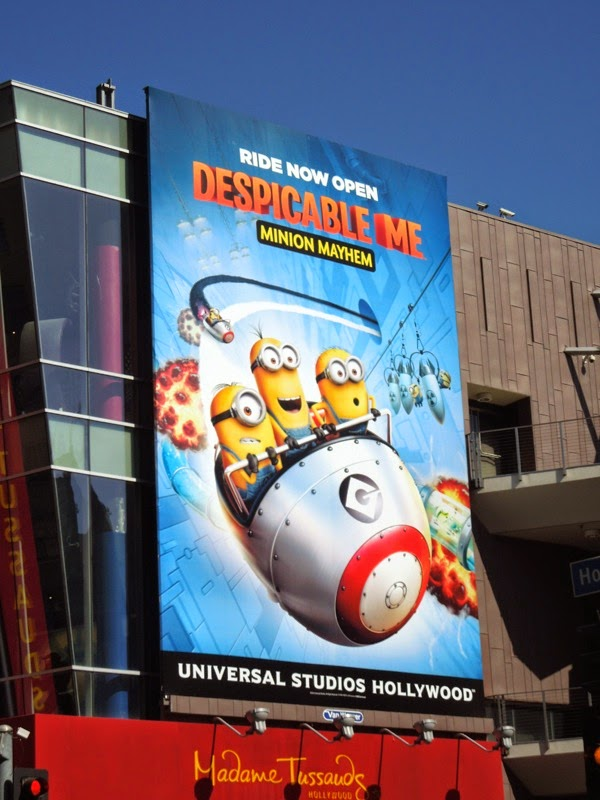 Giant Despicable Me Minion Mayhem ride billboard