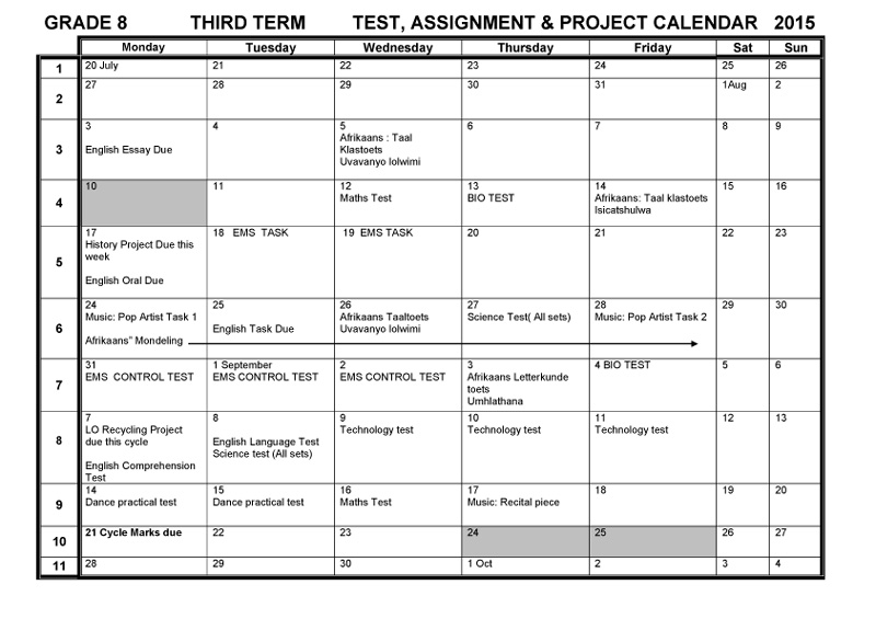 school assignments calendar