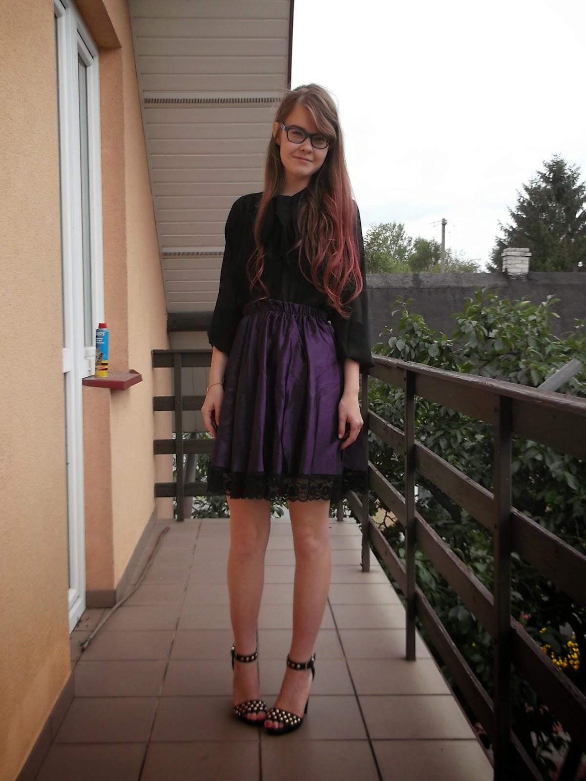 OOTD:   Czerń+fiolet
