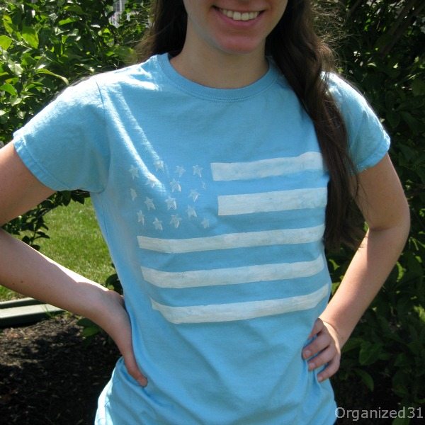 easy 4th of July diy, painted tee shirt diy