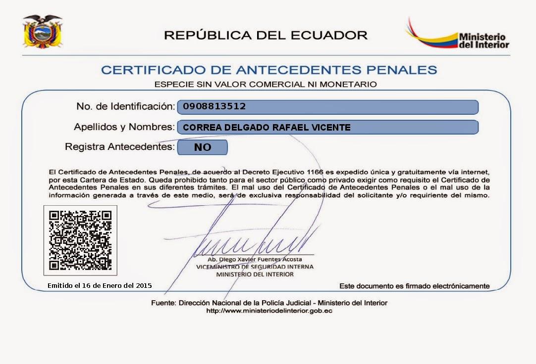 Antecedentes penales ecuador noticias noticias de for Pagina del ministerio del interior