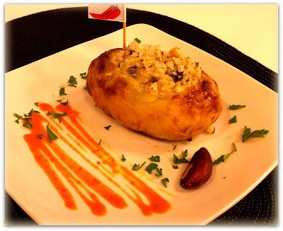 Batata assada com bacalhau