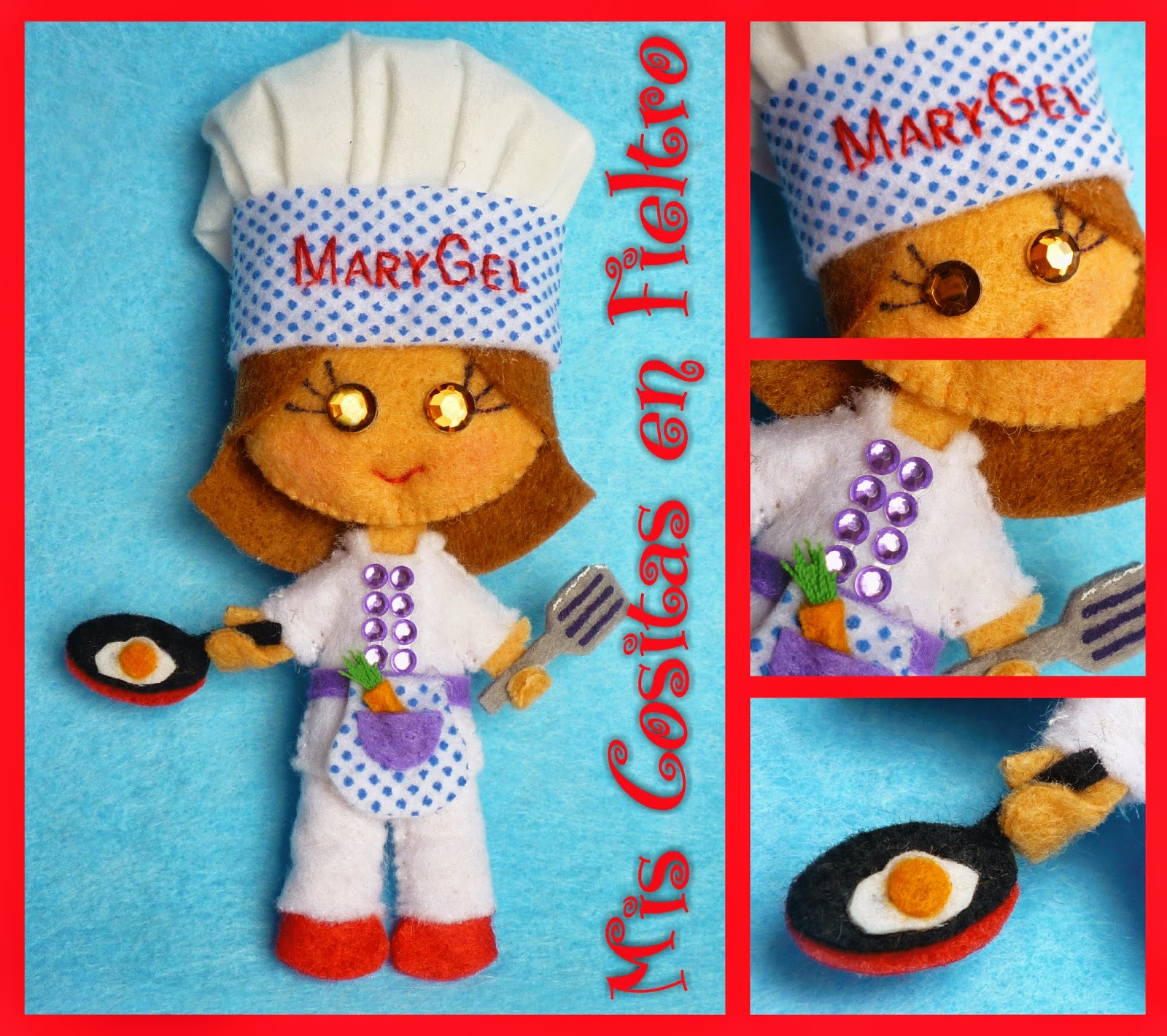 Broche de fieltro, broche en fieltro, fieltro broche, cocinera en fieltro, cocinera fieltro, cocinera de fieltro, fieltro cocinera, broche de fieltro cocinera, monigota, cociñeiro, cocinheira, cook doll