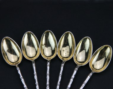 ANTIQUE 19thC CHINESE WANG HING SOLID SILVER SET OF 6 TEA SPOONS c.1880