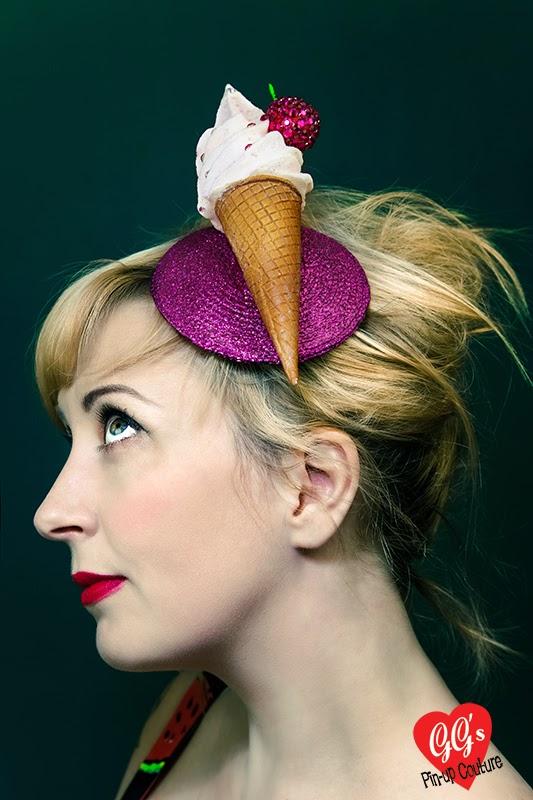 Ice Cream Fascinator, Glitter, Hat, Kitsch, Ascot, Kawaii, pinup, vintage, rockabilly