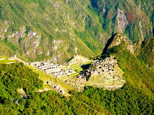 View on Machu Picchu from the Sun Gate Sacred Valley in Peru