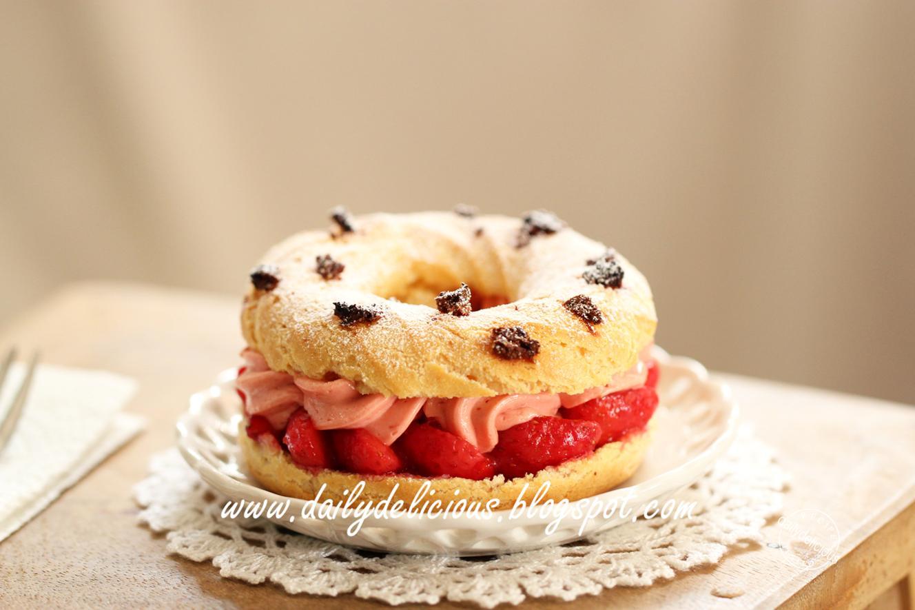 dailydelicious strawberry paris brest tangy sweet dessert. Black Bedroom Furniture Sets. Home Design Ideas