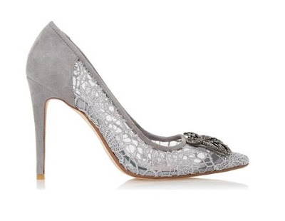 Dune gray suede and lace heels with embellishments