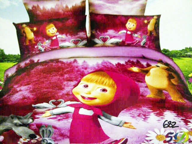 Sprei Anak Pink Motif Masha and The Bear