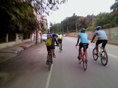 Bicyclists on Mathikere Main Road