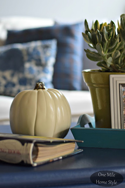 White Pumpkin and Succulent Coffee Table Styling - One Mile Home Style Fall Home Tour