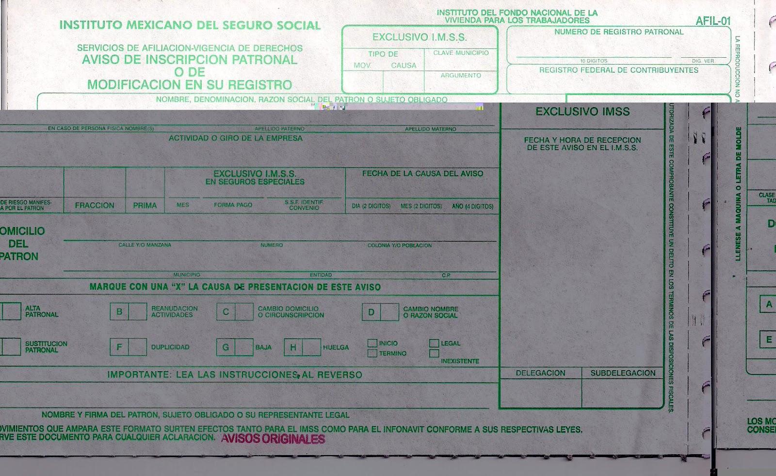 Formato De Avisos Afiliatorios IMSS