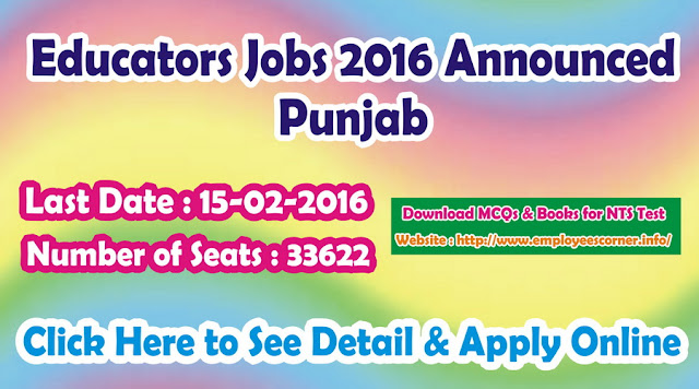 Educators Jobs 2016 in Punjab NTS announced for Apply Online