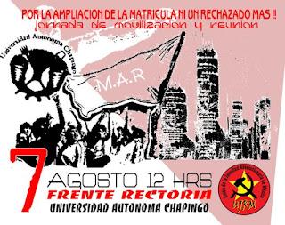 Frente a Rectoría, Universidad Autónoma Chapingo.