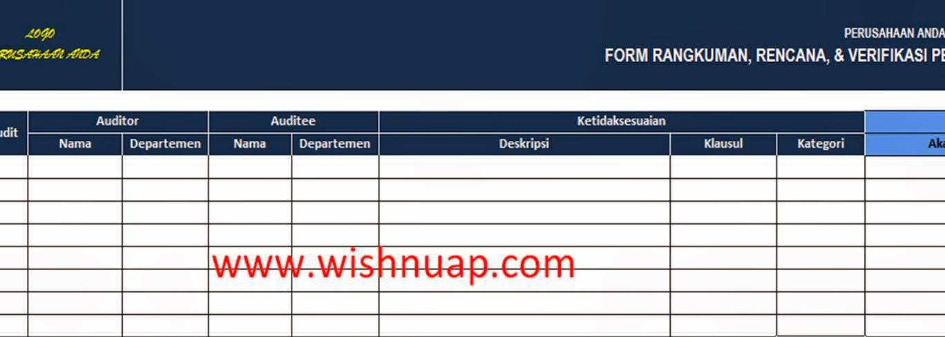 Form Verifikasi hasil Perbaikan Audit Internal
