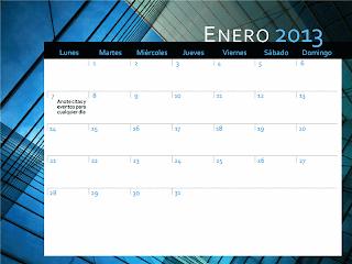 Calendario 2013 con diseño de fondo