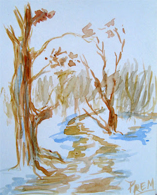 Autum View Trees - Watercolor Sketch